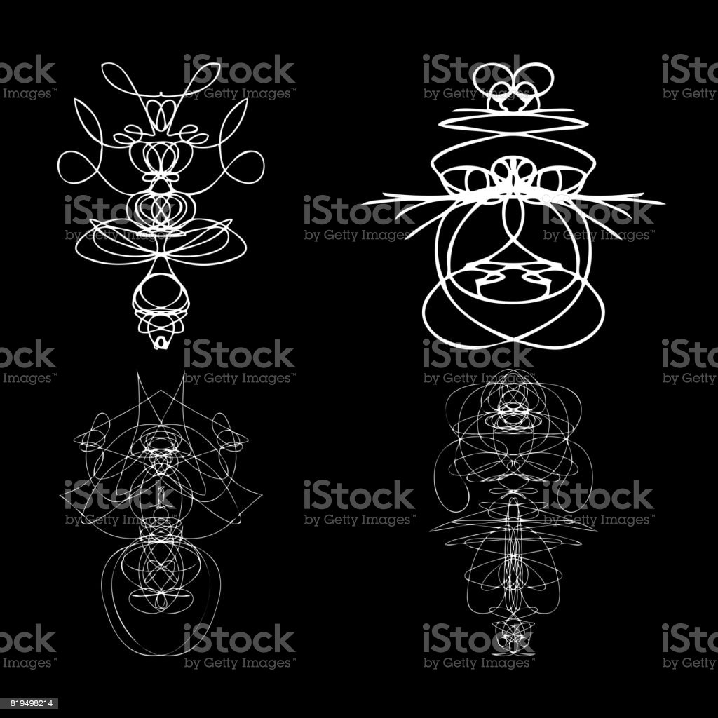 Voodoo Spirits Symmetrical Symbols Set Abstract Geometric Hand Drawn