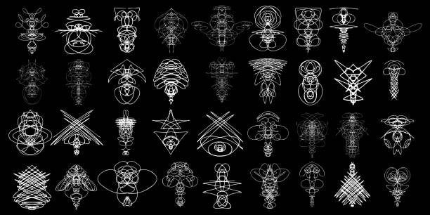 Voodoo spirits symmetrical symbols set. Abstract geometric hand drawn spiritual black magic craft insignia Voodoo deity. Occultism, sacred geometry magic alien. Vector. Vector. voodoo stock illustrations