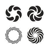 Vortex icons set. Spiral and swirls symbol. Vector illustration isolated on white background