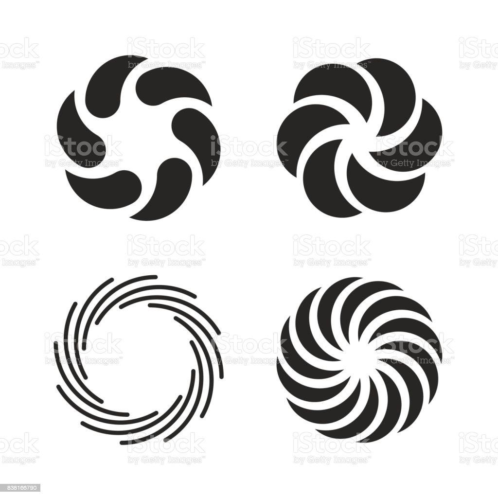 Vortex icons set vector art illustration