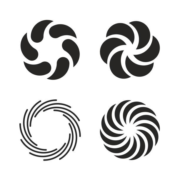 stockillustraties, clipart, cartoons en iconen met vortex icons set - ronddraaien