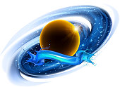 Navy blue space background with many stars and planets.  10 eps.