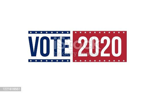istock vote 2020 in blue and red colors, vector illustration 1221616551