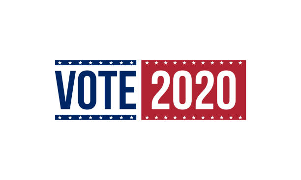 vote 2020 in blue and red colors, vector illustration vote 2020 in blue and red colors, vector illustration election stock illustrations