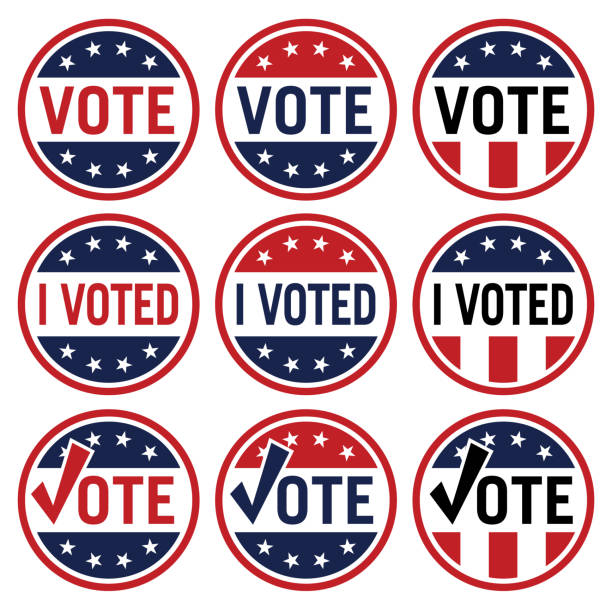 Vote and I Voted political election logo set in red white and blue isolated vector illustration Vote voting stock illustrations