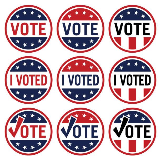 stockillustraties, clipart, cartoons en iconen met stem en ik stemde politieke verkiezings logo set in rood wit en blauw geïsoleerd vector illustratie - vote