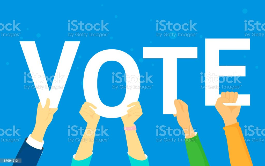 Vote and opinion poll concept vector illustration of young people happy voting vector art illustration
