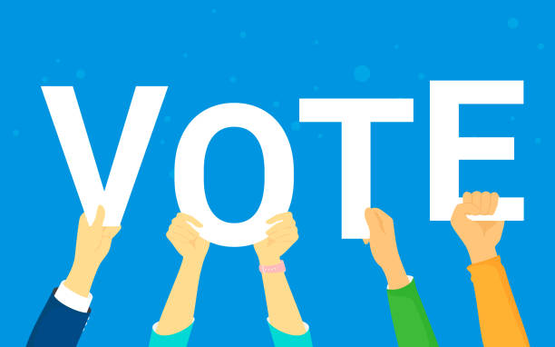 Vote and opinion poll concept vector illustration of young people happy voting Vote and opinion poll concept vector illustration of young people happy voting. Flat human hands hold vote letters on blue background voting stock illustrations