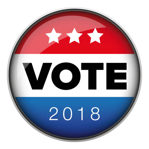 stockillustraties, clipart, cartoons en iconen met stemming badge knop usa - vote