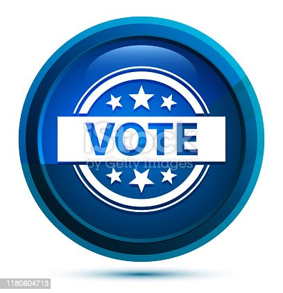 Vote badge icon isolated on elegant blue round button illustration