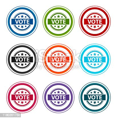 Vote badge icon flat round buttons set illustration design isolated on white background