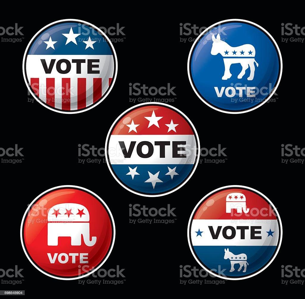 Vote Badges - American Republican & Democratic Parties vote badges american republican democratic parties – cliparts vectoriels et plus d'images de badge libre de droits