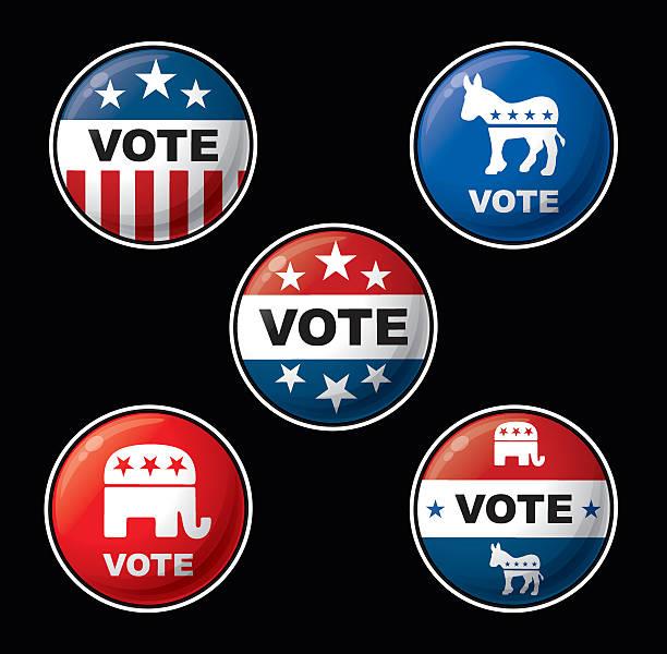 vote badges - american republican & democratic parties - 政治 幅插畫檔、美工圖案、卡通及圖標