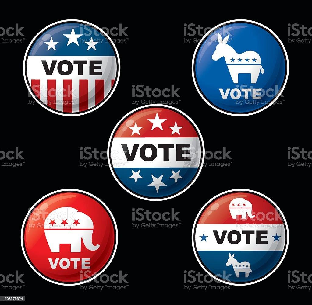 Vote Badges - American Republican & Democratic Parties vector art illustration