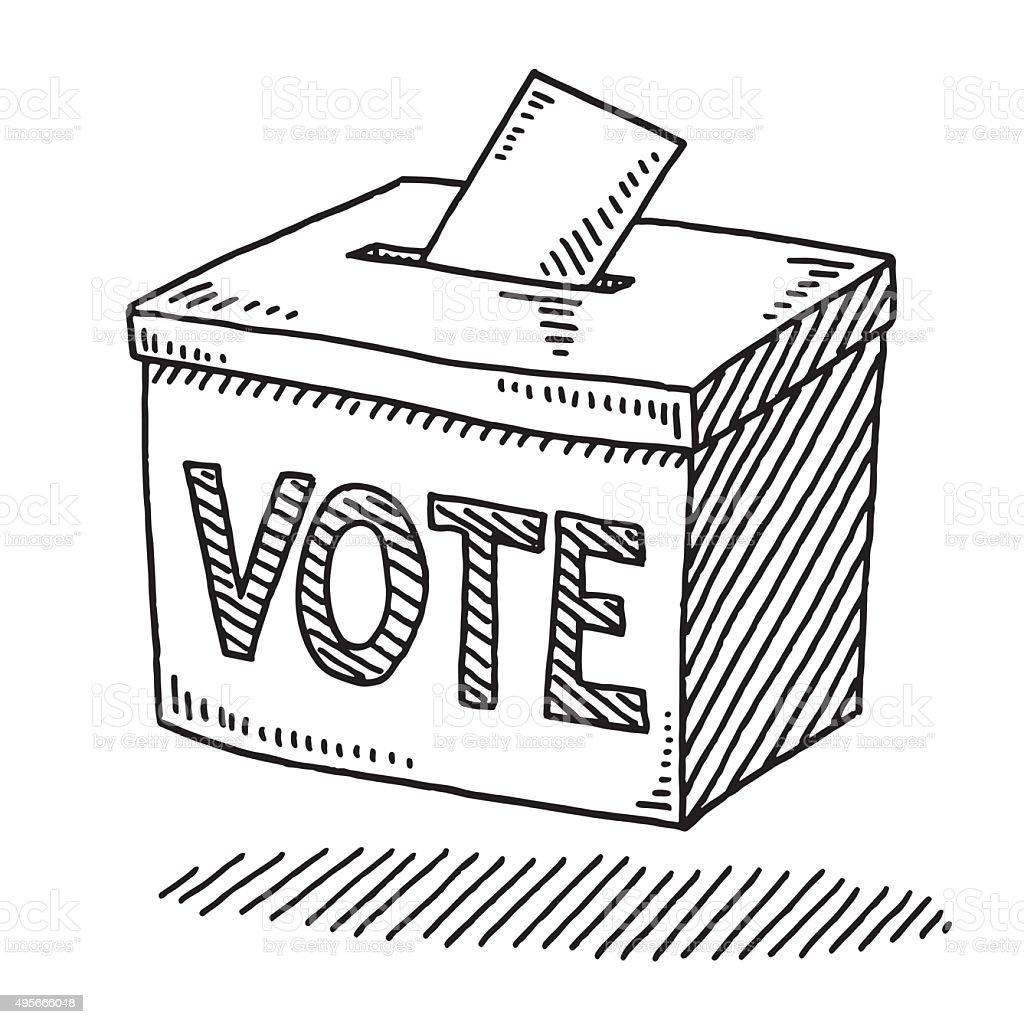 Vote Ballot Box Drawing vector art illustration