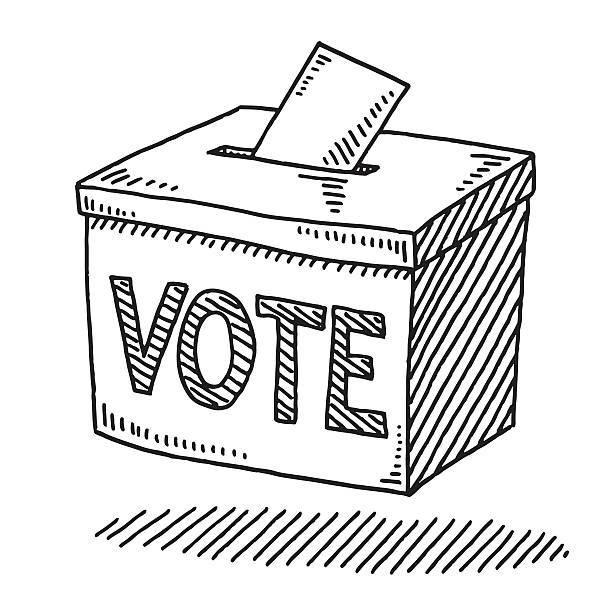 vote ballot box drawing - alphabet clipart stock illustrations
