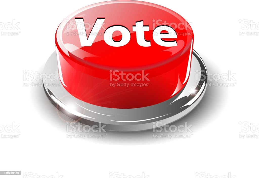 Vote button, 3d red vector. royalty-free stock vector art