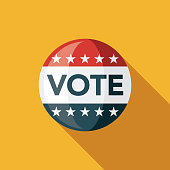 Vote Button Flat Design Elections Icon with Side Shadow