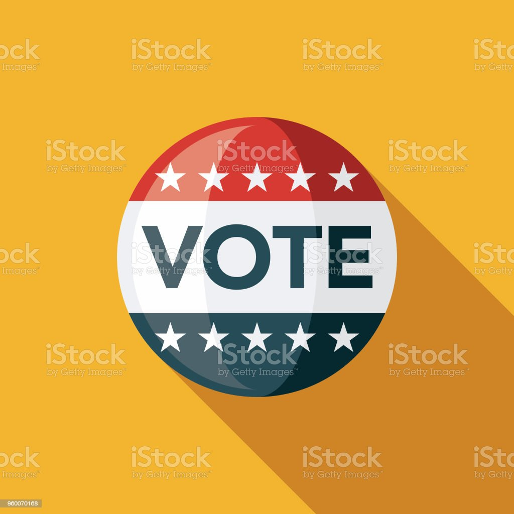 Vote Button Flat Design Elections Icon with Side Shadow vector art illustration