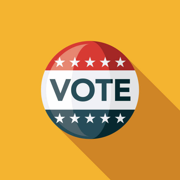 Vote Button Flat Design Elections Icon with Side Shadow A colored flat design politics and election icon with a long side shadow. Color swatches are global so it's easy to edit and change the colors. voting stock illustrations
