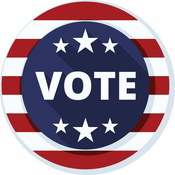 usa vote button - inauguration stock illustrations