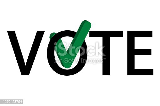 istock Vote by mail campaign banner for the 2020 presidential election in America during the covid pandemic. All elements are isolated. 1270423754