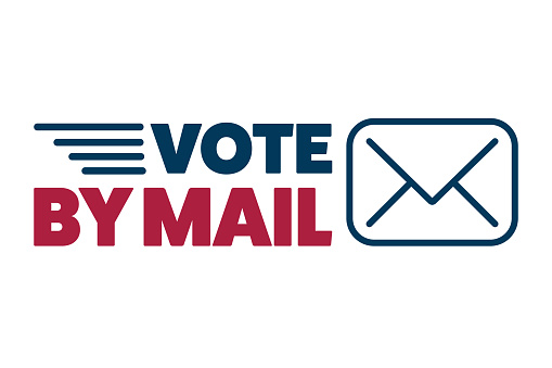 Vote by mail. Stay Safe concept. The 2020 United States Presidential Election. Template for background, banner, card, poster with text inscription. Vector EPS10 illustration.