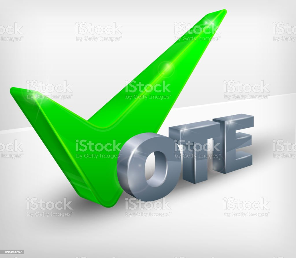 Vote check mark on white royalty-free stock vector art