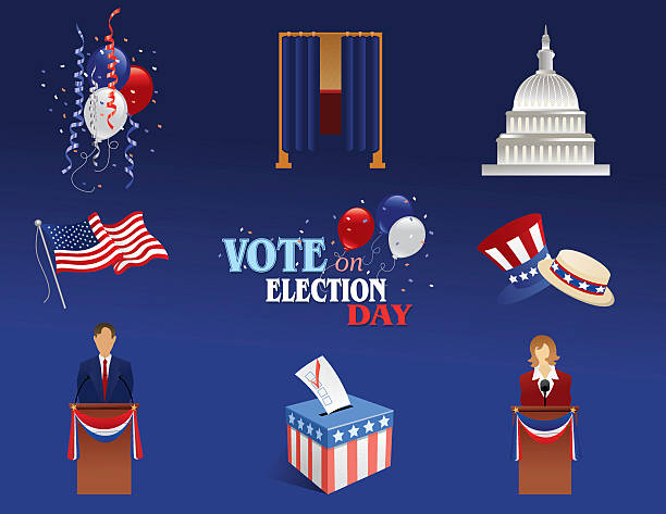 Vote Elements Balloons, voting booth, candidate, Capitol, American flag, ballot box, and hats in an election theme. party conference stock illustrations