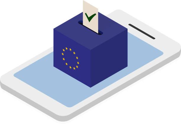 Vote for EU i mobile phone vector art illustration