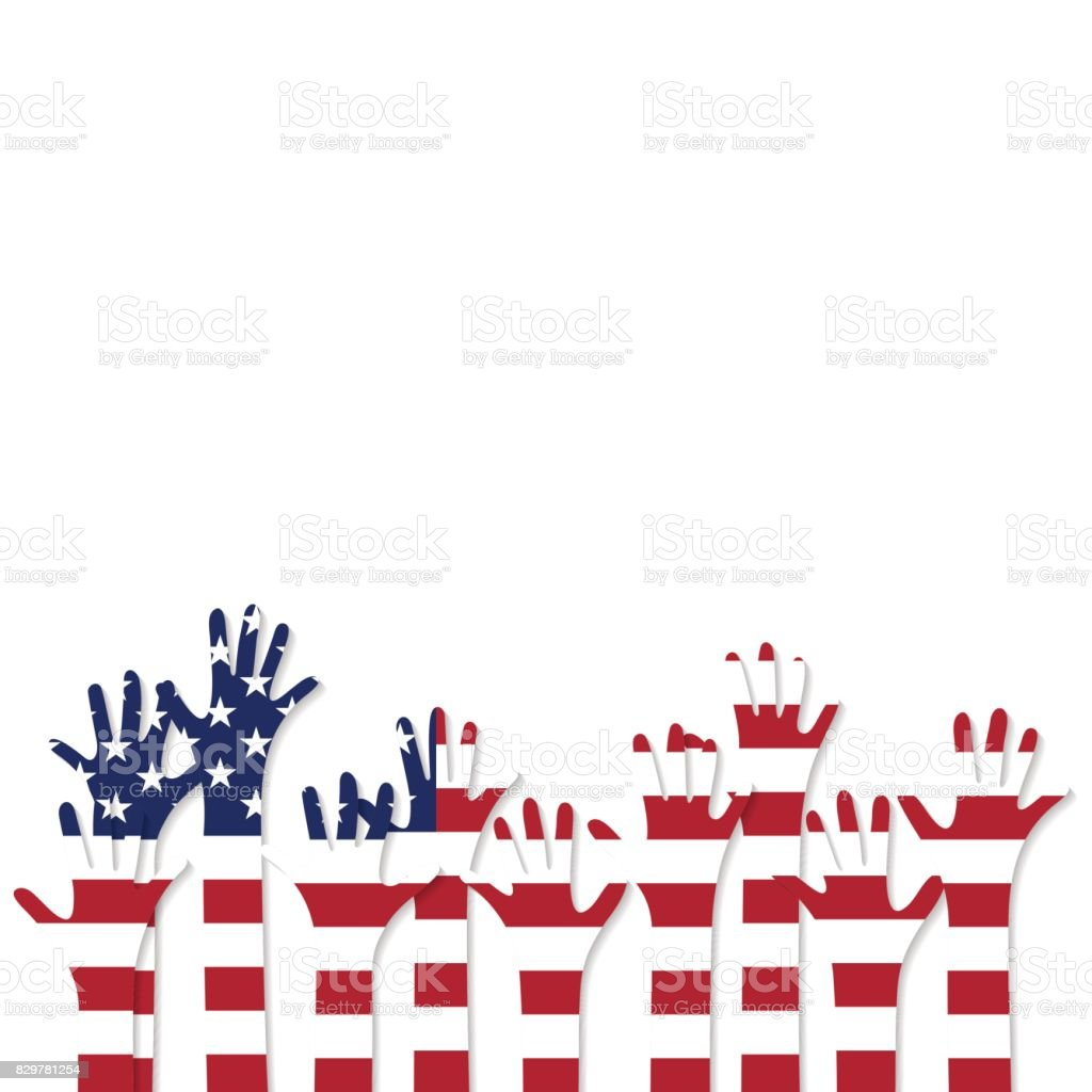 Vote. Hands in the colors of the flag of the United States of America vector art illustration