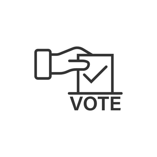 vote icon in flat style. ballot box vector illustration on white isolated background. election business concept. - ballot stock illustrations