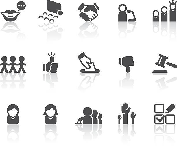 голосование иконки/серия простой черный - presidential debate stock illustrations