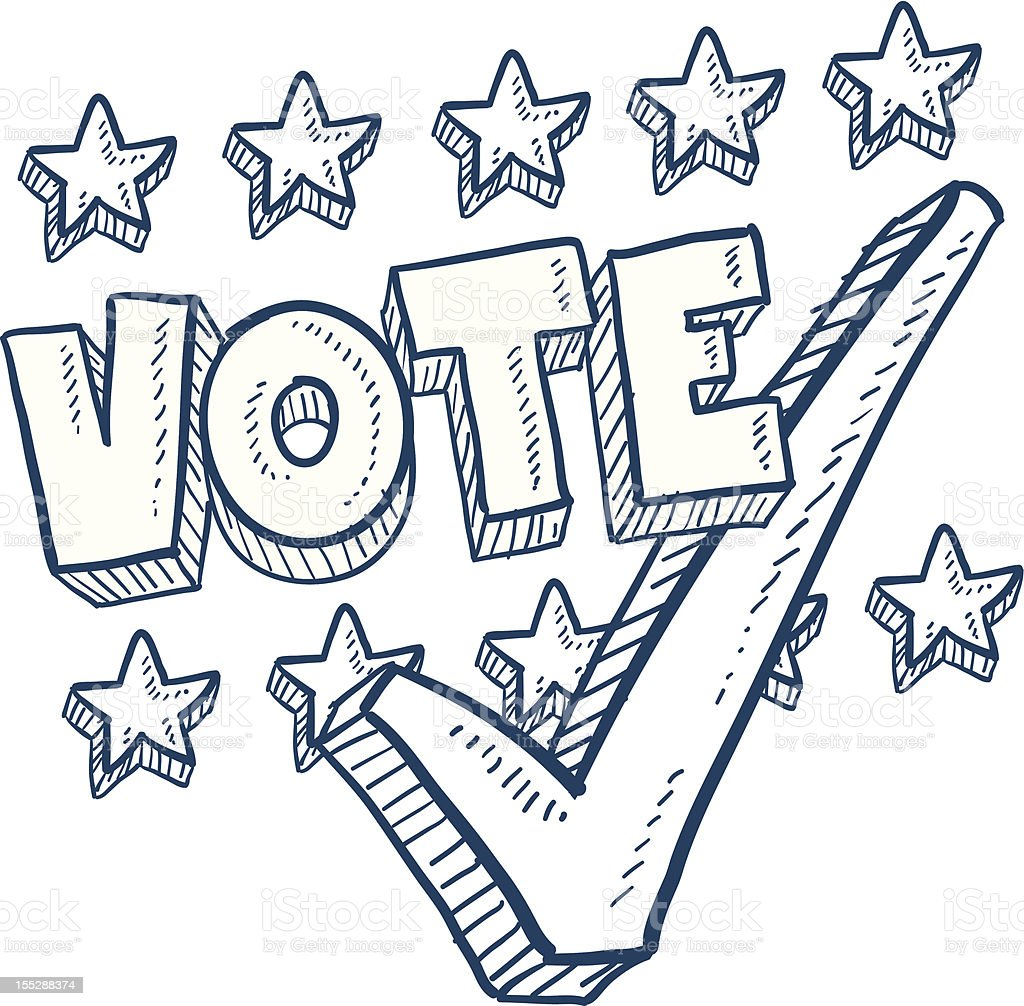 Vote in election sketch with check mark royalty-free stock vector art