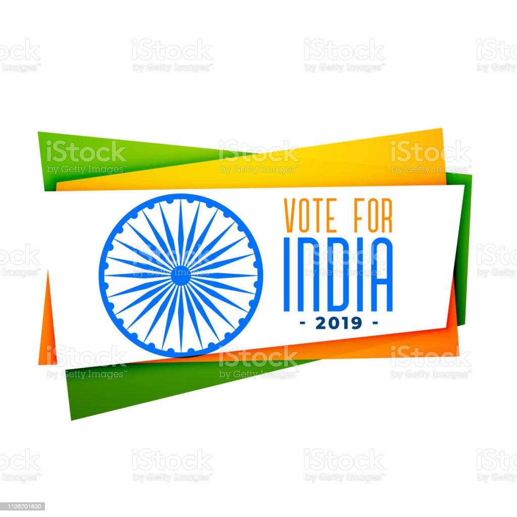 Vote India Banner In Tri Color Stock Illustration - Download