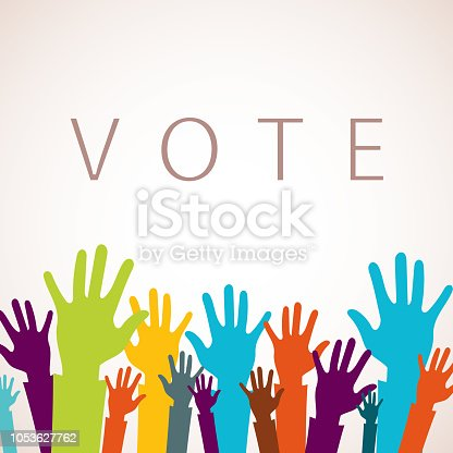 Vote now concept. Colorful up hands icon. Flat vector illustration