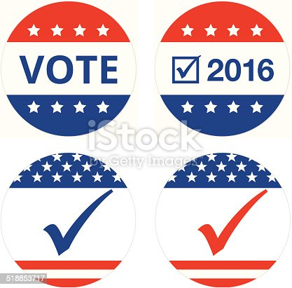 vote or election badges