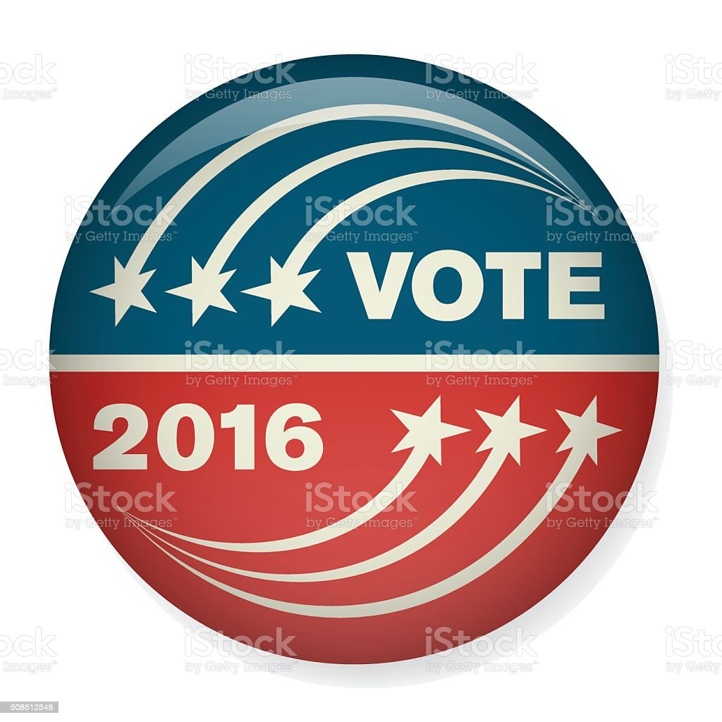 Vote or Voting Campaign Election Pin Button or Badge vector art illustration