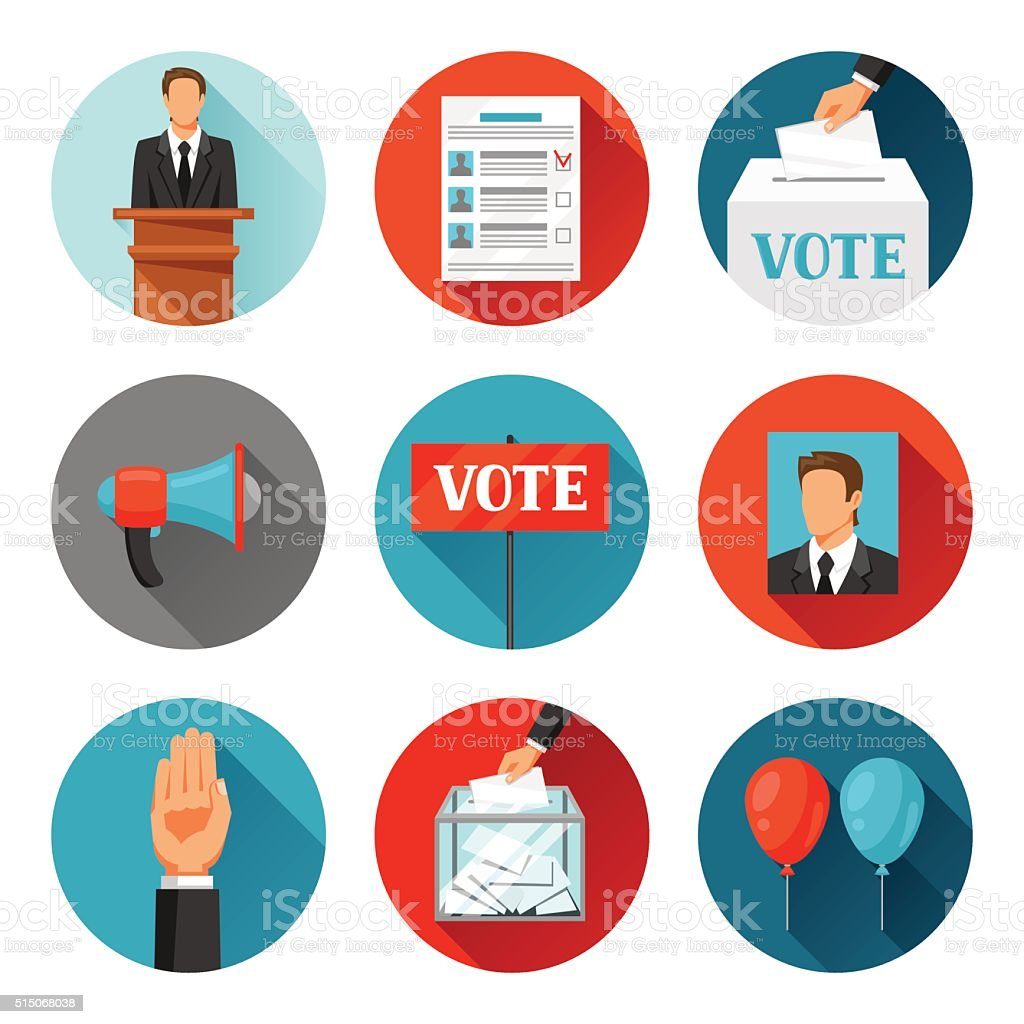 Vote political elections icons. Illustrations for campaign leaflets, web sites vector art illustration