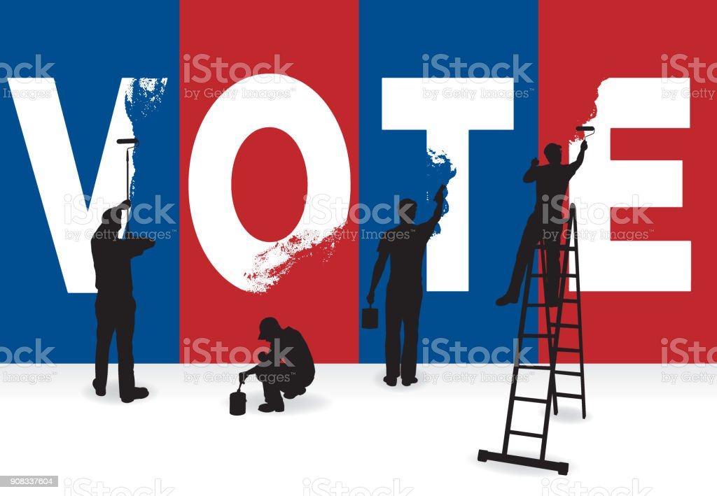 Vote, presidential election, politics concept graphic vector art illustration