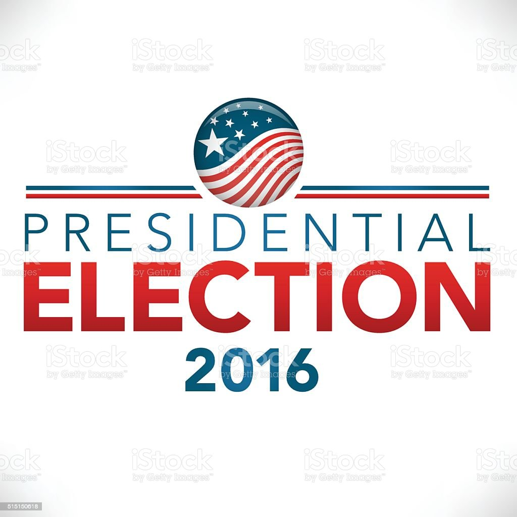2016 Vote Presidential Election with Pin Button or Badge vector art illustration