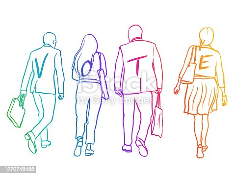 Sketch illustration of a small group of business people walking away with a message to vote written on their backs
