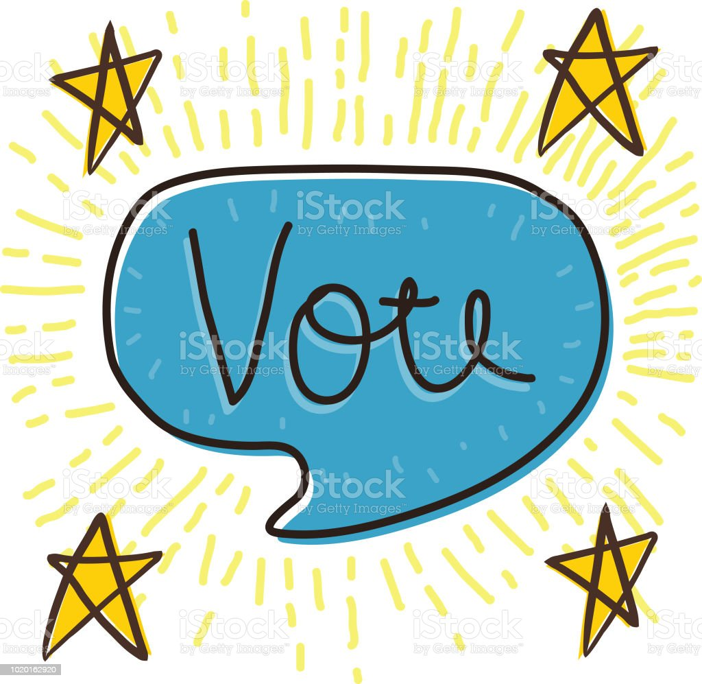 Vote speech bubble vector art illustration