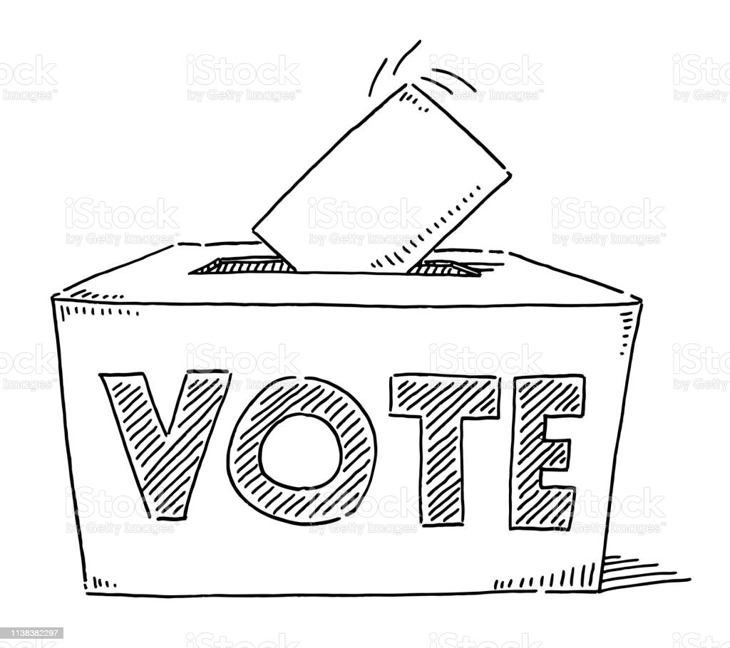 Hand-drawn vector drawing of a Vote Text On a Ballot Box....