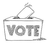 Vote Text On Ballot Box Drawing
