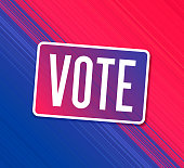 Vote US American politics sign smooth line abstract gradient line background with space for your copy.