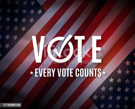 istock Vote, USA elections background. Every cote counts. Vector 1276998183