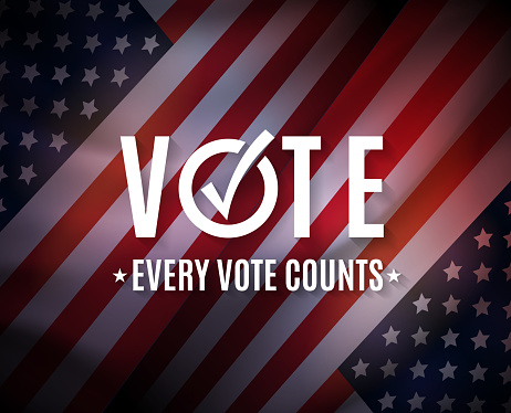 Vote, USA elections background. Every cote counts. Vector