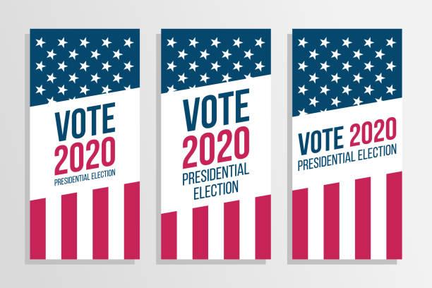 stockillustraties, clipart, cartoons en iconen met 2020 stem vs presidentsverkiezingen flyers set. - vote