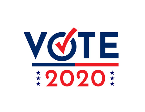 Vote with check mark. Presidential election 2020 card. Vector illustration. EPS10